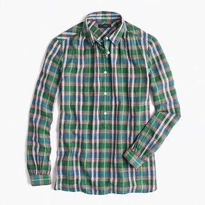 Jcrew Gathered popover shirt in vintage plaid
